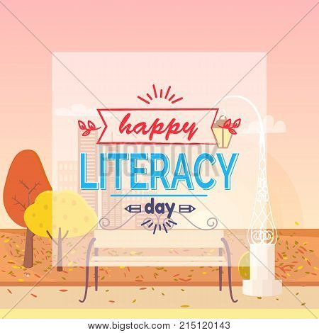 Happy Literacy Day colorful wish with doodles. Background of vector illustration is autumn town park with yellow foliage on trees and fallen leaves on grass