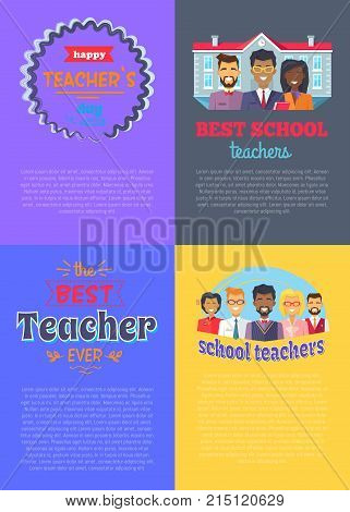 School teachers set of four placard demonstrating both titles in frame or ribbon and icons of teachers and schoolhouse vector illustration