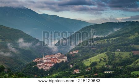 Foggy Valley In The Village Of Preci, Umbria, Italy
