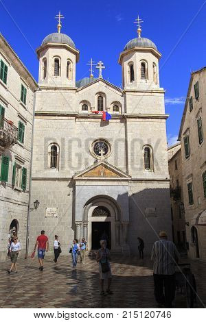 KOTOR, MONTENEGRO - SEPTEMBER 13, 2013: It is the church of St. Nicholas the patron saint of seamen and travelers built in the early XX century.