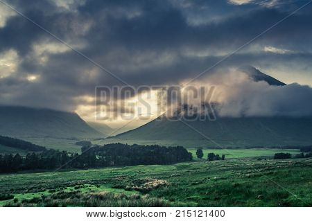 Before Sunrise Over The Foggy Mountains Of Glencoe, Scotland