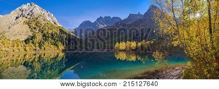 Morning panorama of Lake Kardyvach. Caucasian Biosphere Reserve