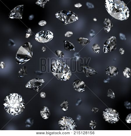 Diamond rain. Dark background. 3d image. Render.