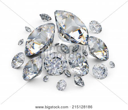 Diamonds. 3d image. White background.