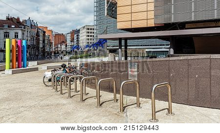 BRUSSELS - JUNE 17, 2017: Cityscape of Brussels, on the right fragment of the Berlaymont office building - seat of the headquarters of the European Commission, the executive of the European Union.