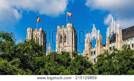 BRUSSELS - JUNE 17, 2017:  The St. Michael and Gudula Cathedral in Brussels. Beautiful church, built in the Gothic style serves as the co-cathedral of the Archdiocese of Mechelen-Brussels.