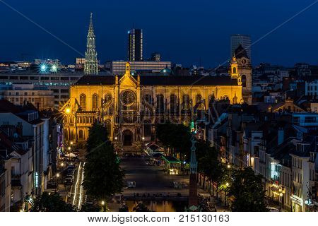 BRUSSELS - JUNE 17, 2017: Panoramic night view of the City of Brussels. Brussels is the capital of Belgium and the seat of the authorities of the European Community.