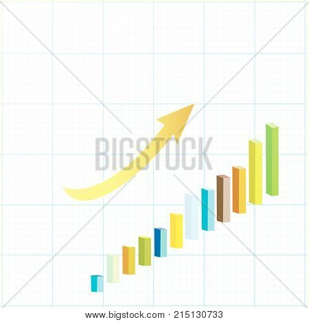 Statistical graph showing business growth with increasing bars and an upward curving arrow conceptual of success and  achievement