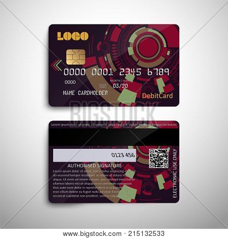 Realistic detailed credit debit card with abstract geometric design isolated on white background. for use in financial and banking design. Front and back of the card. Vector illustration EPS10