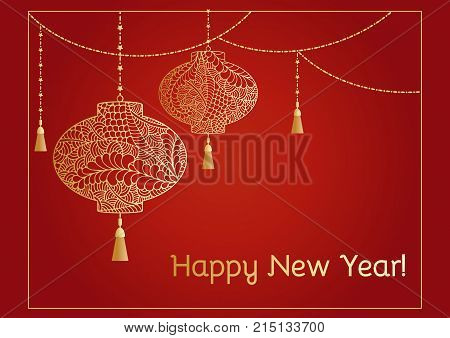 A New year background with golden Chinese lantern tassel lights and a garland. Happy new year text