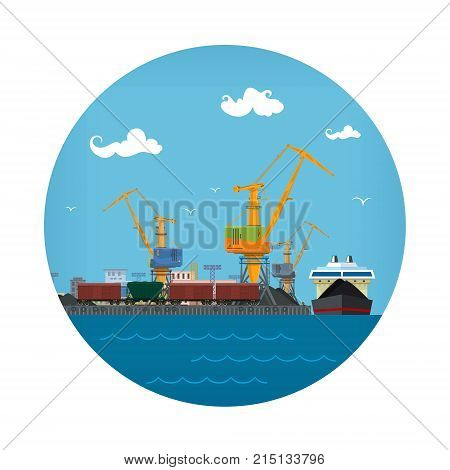 Seaport Icon Unloading Coal or Ore from the Dry Cargo Ship Logistic Sea Freight Transportation Port Warehouses and Cranes with Train Wagons Vector Illustration