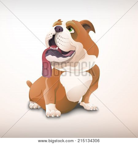 Lovely sitting bulldog in cartoon style. Dog in vector format. For use in the year of the dog. The character of the dog with an open mouth and a drooping tongue.