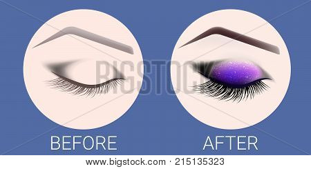 Design of eyebrows and make-up. The closed female eye before and after a make-up. A curved female eyebrow and long eyelashes. Eyelash extension eye shine and eyebrow tattoo.