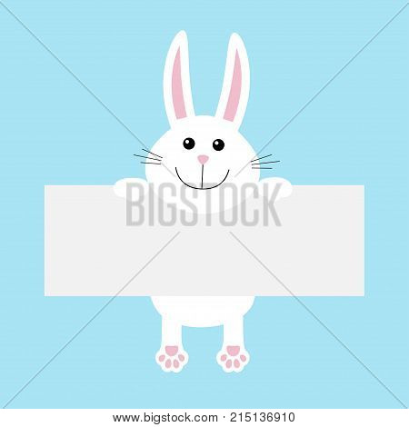 Funny white rabbit hare hanging on paper board template. Kawaii animal body with pawprint. Cute cartoon character. Baby card. Flat design style. Blue background Isolated. Vector illustration