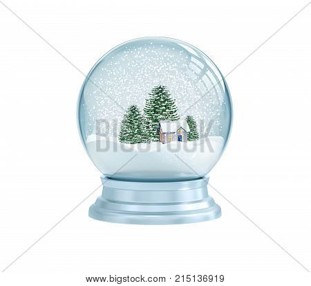 Snow globe with house and pine trees isolated on white. 3D rendering
