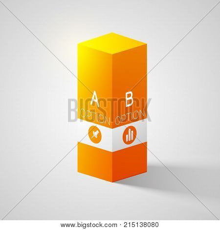 Business web design concept with 3d orange square column two options and icons isolated vector illustration