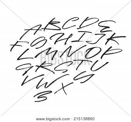 Hand written alphabet, capital letters. Brush painted grunge modern letters. Beautiful calligraphy and lettering. Black and white script.