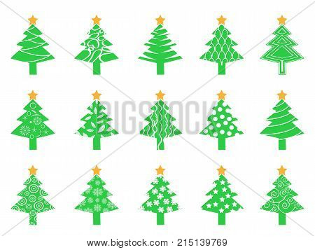 isolated green Christmas tree icons set from white background