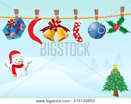 the blue background of hanging Christmas gifts in snowing for Christmas design