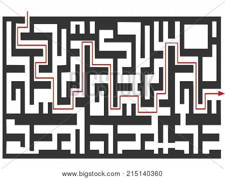 isolated black the maze puzzle on white background