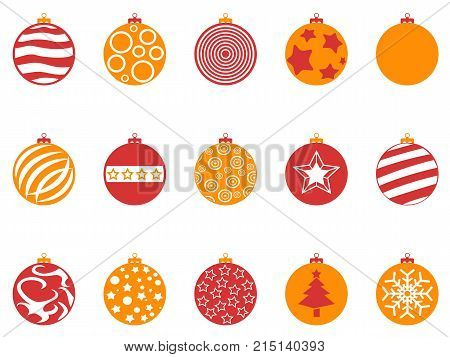 isolaetd orange and red color christmas ball icons set from white background