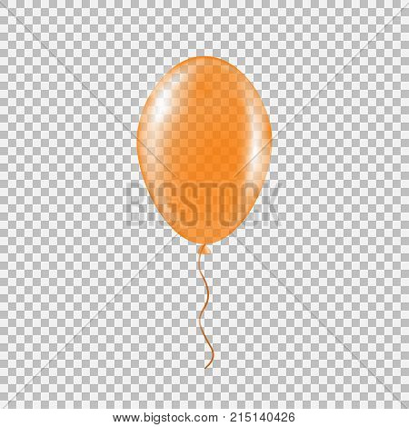 Transparent orange helium balloon. Isolated vector illustration on plaid transparent background. Birthday baloon flying for party, celebrations, buisness and design.