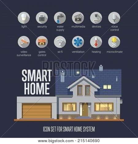 Set of smart home icons. Smart house automation system. Flat design style vector illustration with technology icons