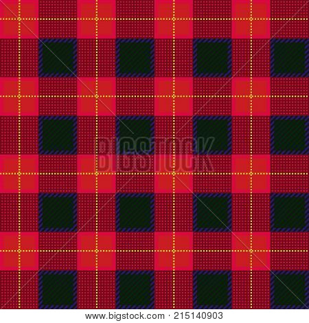 Lumberjack plaid pattern. Seamless vector background. Alternating overlapping black and colored cells. Template for clothing fabrics.