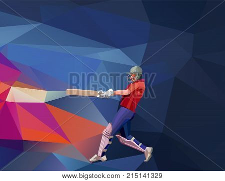 Low polygon style illustration of a cricket player batsman with bat batting set on colorful background. Horisontal view. Eps 10