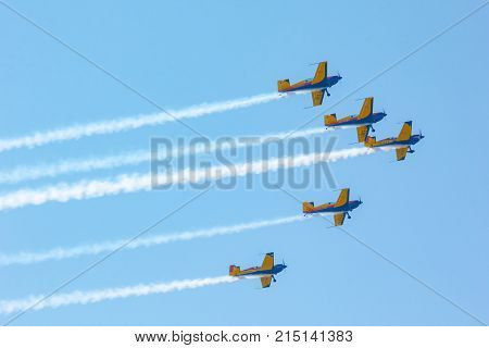 Airplanes fly in the sky. Air Show Airport Moldova Chisinau 30.09.2017. Editorial photo