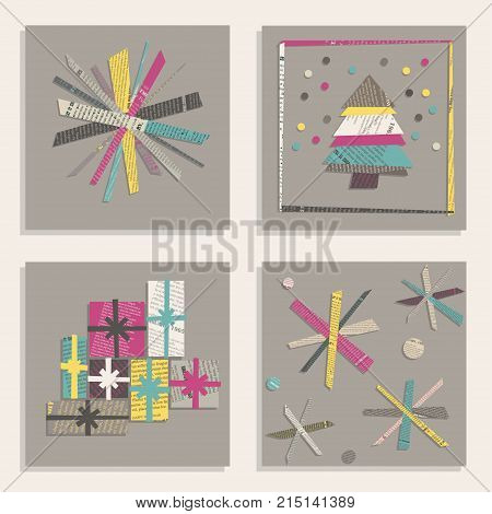 Vector set of templates for square New Year Cards. Snowflakes Christmas tree gifts cut out from colored newsprint paper on a gray background.