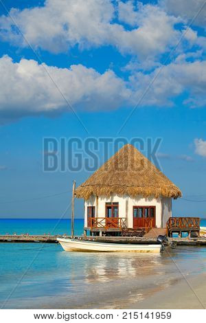 Holbox island pier hut Palapa in Mexico Quintana Roo