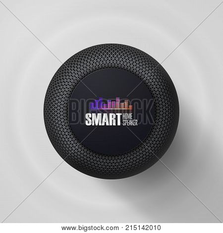 Smart speaker. Voice control user interface smart speaker vector illustration