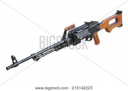 Gun automatic machine army equipment. 3D rendering