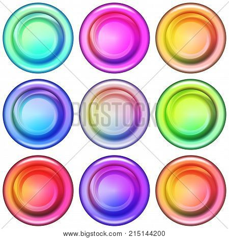 Set of Colorful Round Glass Buttons, Computer Icons for Web Design, Isolated on White Background. Vector