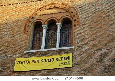 Treviso, Tv, Italy - December 8, 2016: Banner With The Inscription To Get The Truth On A Dramatic Ev