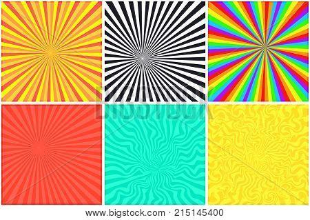 Abstract bright color retro striped backgrounds set for retro comic bubble. Rainbow monochrome psychedelic sunny retro strip mockup for comics book text speech bubble message
