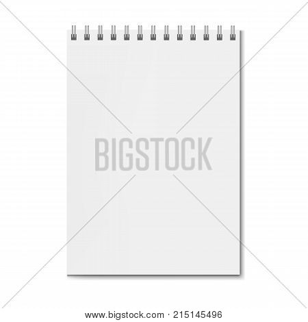 Realistic square spiral notebook mockup sketchbook on spiral binder blank cover. Clear notepad front page or clean page with shadow template