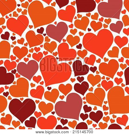 Seamless pattern red hearts. Vector pattern red big and small hearts. Bright pattern for fabric or design project.