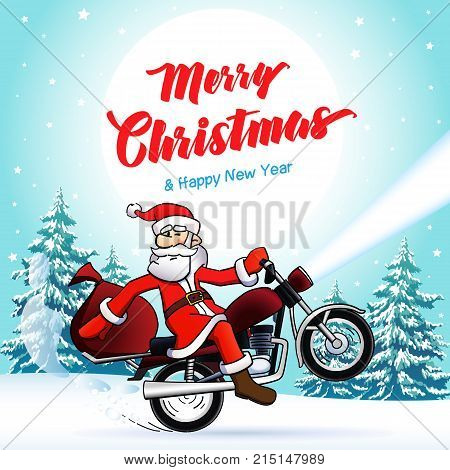 Santa biker, Merry Christmas and New Year winter card. Happy Christmas text, vector Santa Claus on motorcycle, stars and moon on background