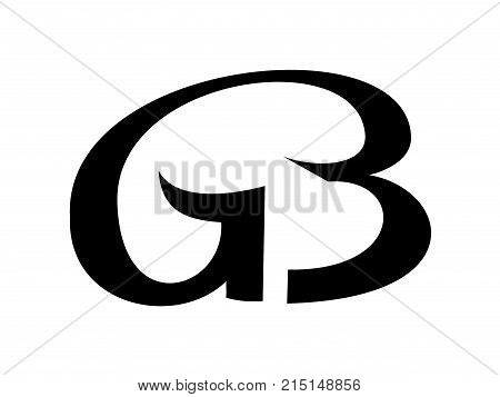 Monogram from linked letters G and B vector logotype. Simple and elegant monogram for logo from two letters. Vector illustration icon for web or print design.
