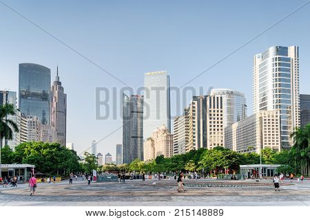 Scenic View Of A City Park Among Modern Buildings, Guangzhou
