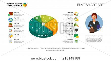 Twelve options pie chart slide template. Business data. List, time, design. Creative concept for infographic, project. Can be used for topics like finance, management, banking.