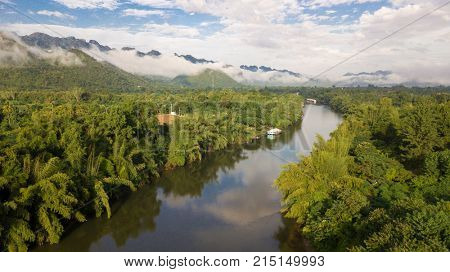 Aerial view of the Kwai Noi tropical river in Kanchanaburi, Thailand