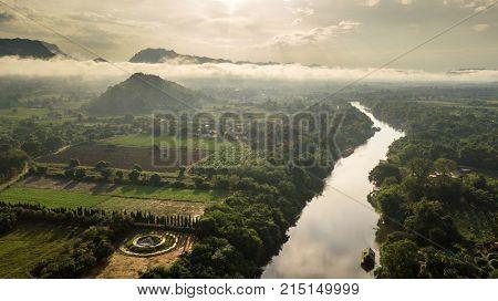 Morning sunrise over Kwai Noi river in Kanchanaburi, Thailand