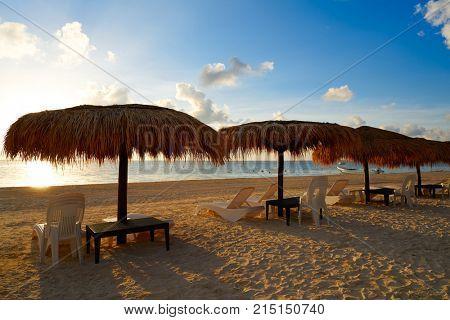 Riviera Maya sunrise beach sunroof hammocks at Mayan Mexico