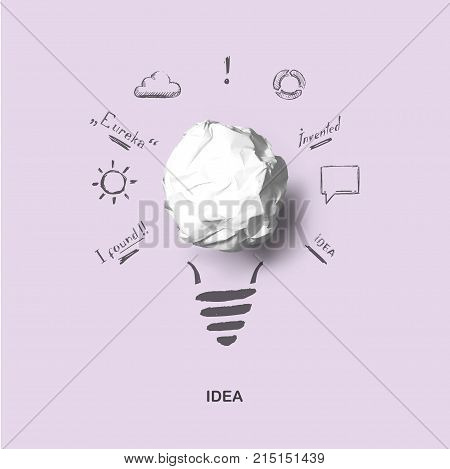 New Creative Idea. Art Concept Of Idea And Innovation With Realistic Paper Bulb And Sketch.