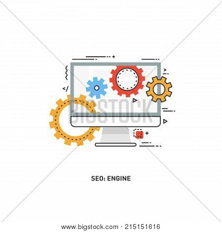 Line Design Modern Vector Illustration Concept Of Website Analytics Information Tools. Search Engine