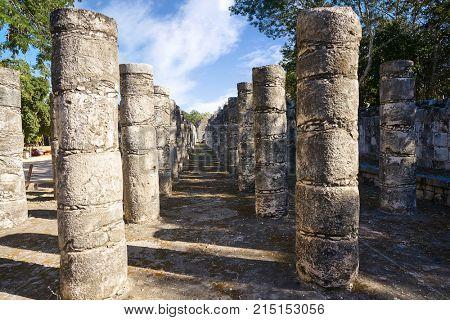 Chichen Itza one thousand columns temple at Yucatan Mexico
