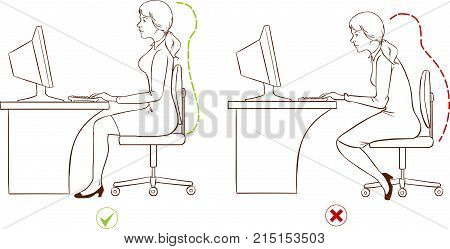 Girl sitting at an ergonomically correct computer station.(Black and white)